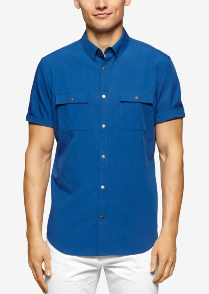 Calvin Klein Big & Tall Belmore Two-Pocket Short-Sleeve Shirt