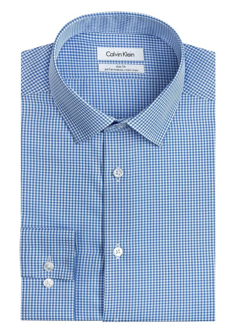 Calvin Klein Men's Big and Tall Dress Shirt Slim Fit Non Iron Gingham