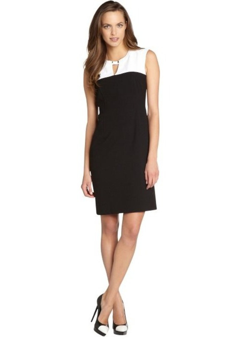 Calvin Klein black and white colorblock buckle collar sleeveless dress