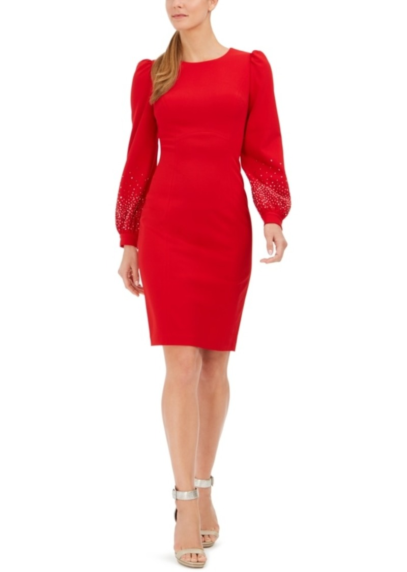 Calvin Klein Bling Puff-Sleeve Sheath Dress
