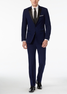 Calvin Klein Blue with Black Peak Lapel Extra Slim-Fit Tuxedo