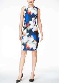 Calvin Klein Blurred Floral-Print Scuba Sheath Dress