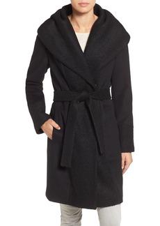 Calvin Klein Bouclé Trim Hooded Wrap Coat