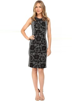 Boucle Sheath Dress w/ Lace