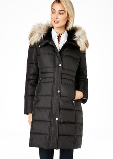Calvin Klein Box Quilt Faux-Fur Hooded Puffer Coat, Created for Macy's