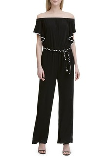 Calvin Klein Braided Off-the-Shoulder Ruffle Jumpsuit