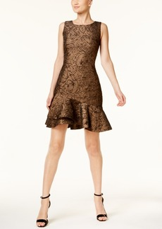 Calvin Klein Brocade Flounce-Hem Sheath Dress