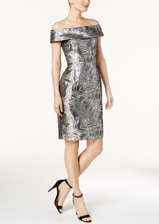 Calvin Klein Brocade Off-The-Shoulder Sheath Dress, Available in Regular & Petite