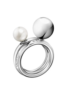 Calvin Klein Bubbly Stainless Steel and White Pearl Imitation Ring Set