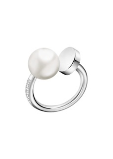 Calvin Klein Bubbly Stainless Steel White Imitation Pearl Ring