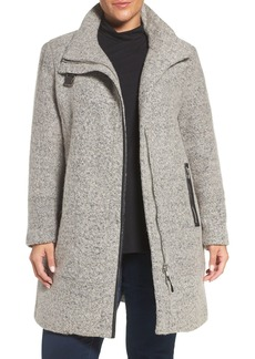 Calvin Klein Buckle Tab Detail Stand Collar A-Line Coat (Plus Size)