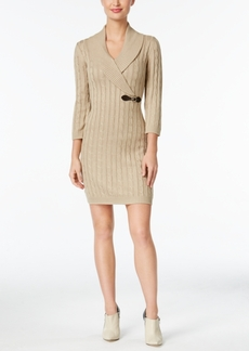 Calvin Klein Buckled Cable-Knit Sweater Dress