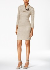 Calvin Klein Buckled Cowl-Neck Sweater Dress