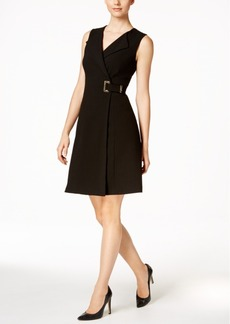 Calvin Klein Buckled Faux-Wrap A-Line Dress