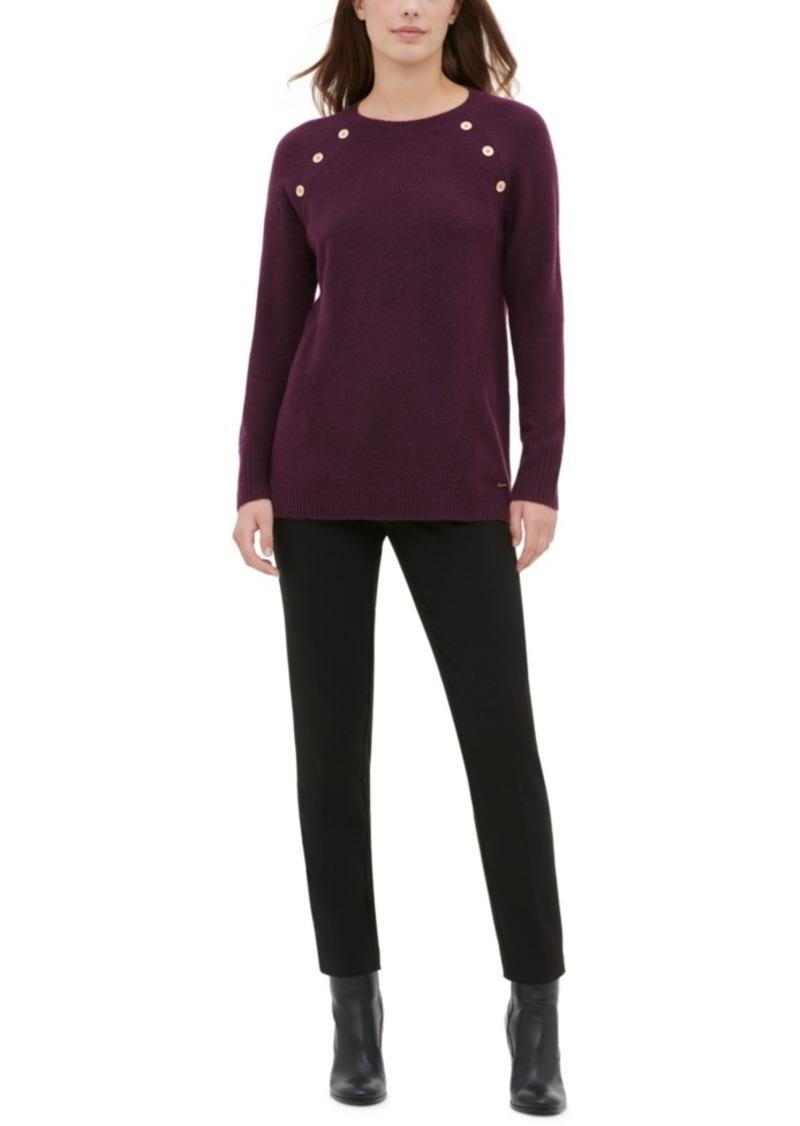 Calvin Klein Button-Detail Crewneck Sweater