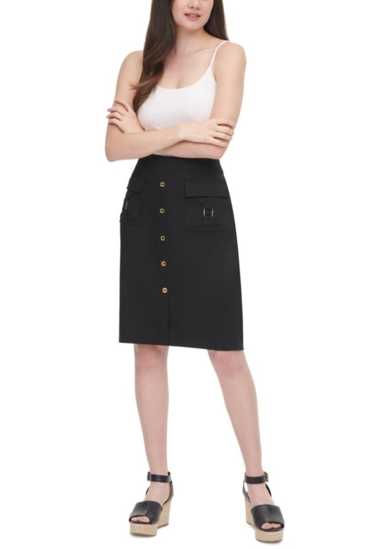 Calvin Klein Button-Detail Pencil Skirt
