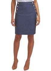 Calvin Klein Button-Detail Striped Pencil Skirt