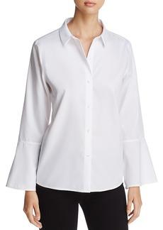 Calvin Klein Button-Down Flare-Sleeve Top