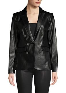 Calvin Klein Button-Front Faux Leather Blazer