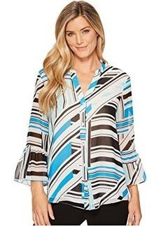 Calvin Klein Button Front Print Flare Sleeve Blouse