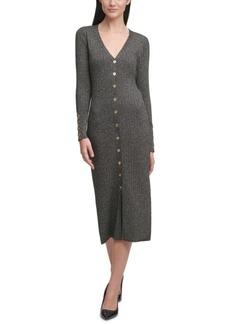 Calvin Klein Button-Front Sweater Dress