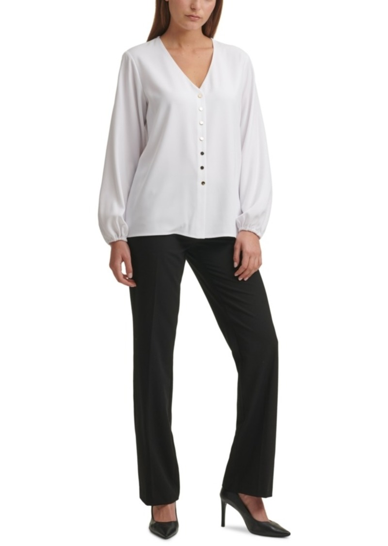 Calvin Klein Button-Front V-Neck Blouse