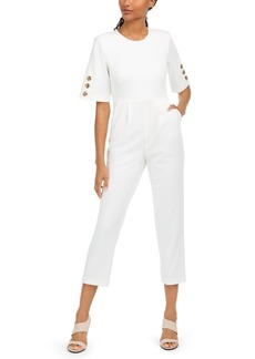Calvin Klein Button-Trim Cropped Jumpsuit