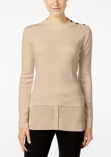 Calvin Klein Button-Trim Layered-Look Sweater