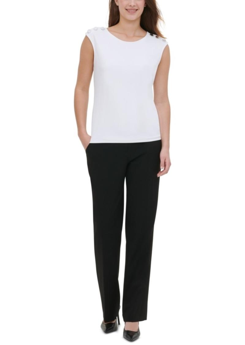 Calvin Klein Button-Trim Sleeveless Top
