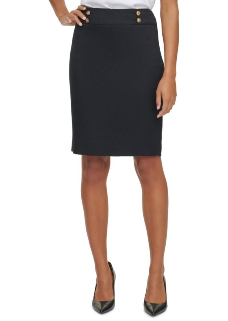 Calvin Klein Button Waist Pencil Skirt