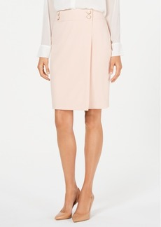 Calvin Klein Buttoned Faux-Wrap Pencil Skirt