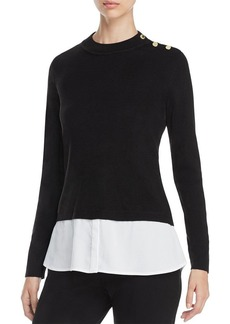 Calvin Klein Buttoned Layered-Look Sweater