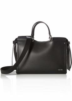 Calvin Klein Callie Crosshatch Leather Knotted Satchel black/white