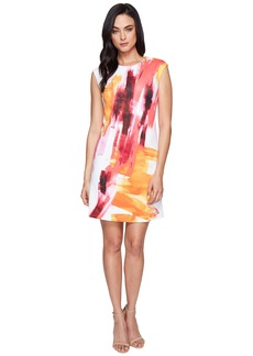 Calvin Klein Cap Sleeve A-Line Dress in Brush Stroke Print CD6M7L8U