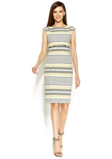 Calvin Klein Cap-Sleeve Belted Striped Sheath
