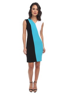 Calvin Klein Cap Sleeve Color Block Sheath CD4X1273