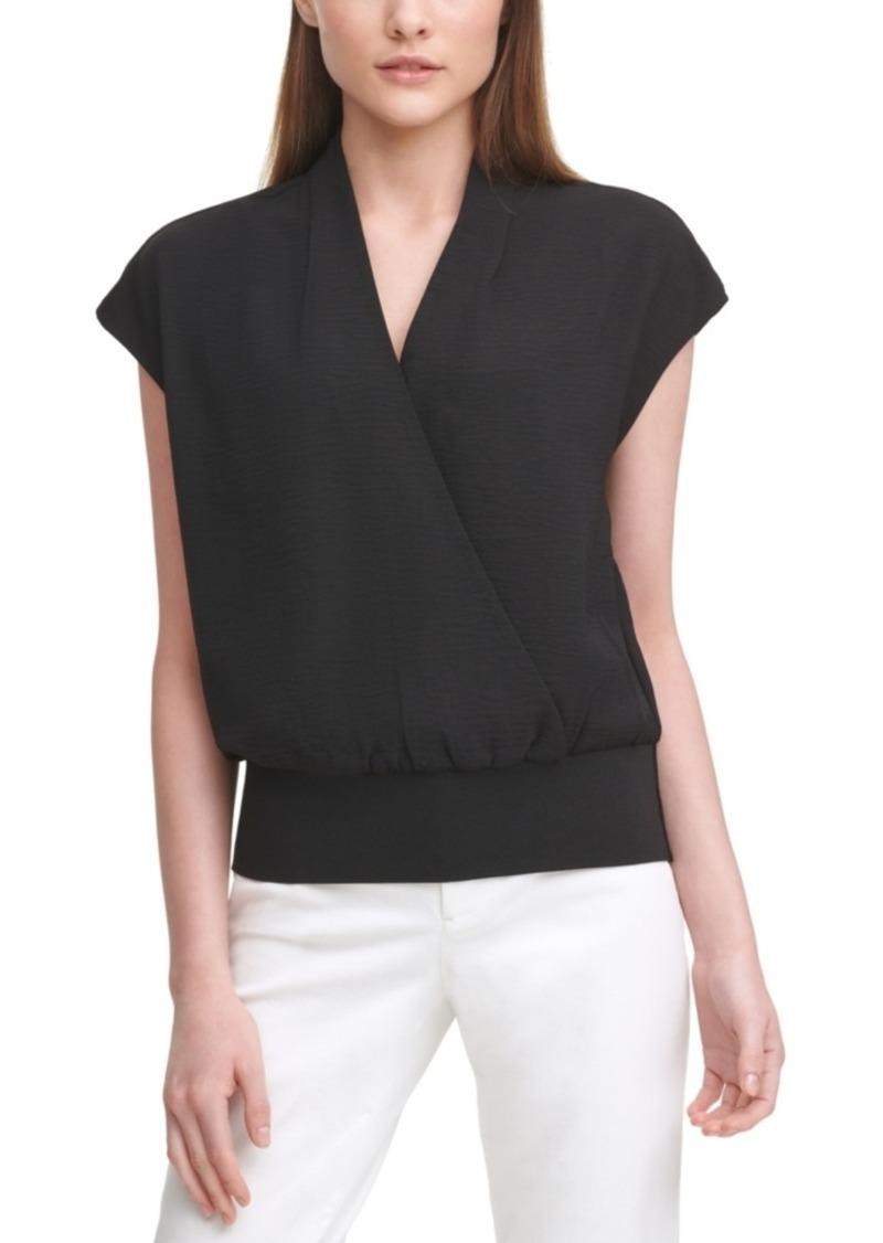 Calvin Klein Cap-Sleeve Surplice Blouse