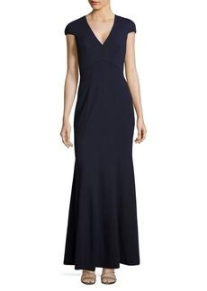 Calvin Klein Cap Sleeve V-Neck Trumpet Gown