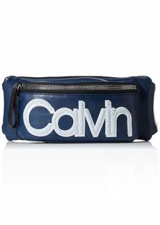 Calvin Klein Celia Vegan Leather Water Resistent Belt Bag Fanny Pack navy combo