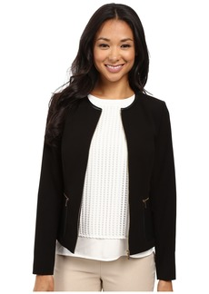 Calvin Klein Center Zip Jacket w/ Faux Leather