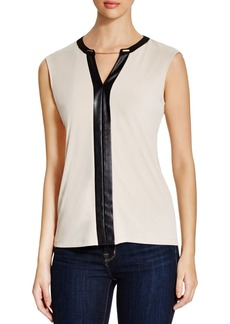 Calvin Klein Chain & Faux Leather Trimmed Top