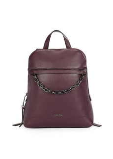 Calvin Klein Chain-Accent Leather Backpack