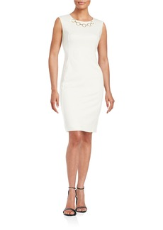 CALVIN KLEIN Chain-Accented Sheath Dress