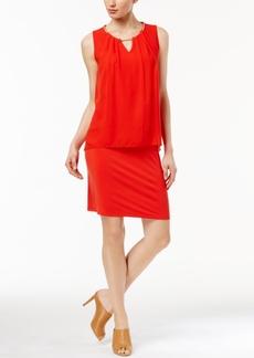 Calvin Klein Chain-Neck Chiffon-Overlay Dress