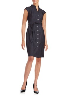 Calvin Klein Chambray Button-Front Sheath Dress