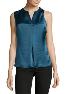 Calvin Klein Charmeuse Pleated Blouse