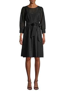 Calvin Klein Checkered Tie-Waist Dress