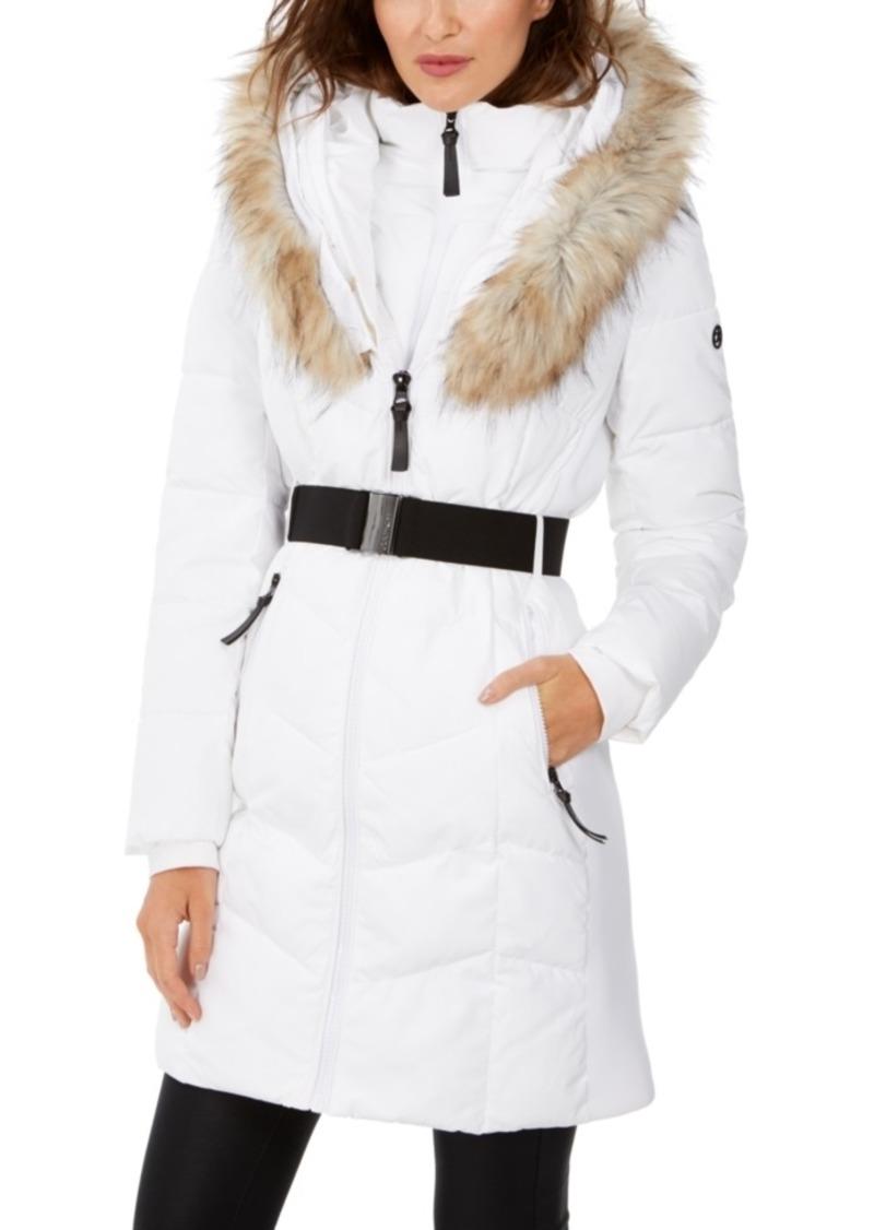 Calvin Klein Chevron Belted Faux-Fur Hooded Puffer Coat