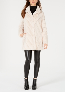 Calvin Klein Chevron Faux-Fur Coat