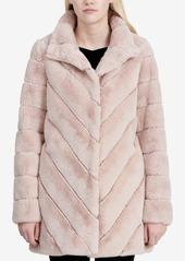 Calvin Klein Chevron-Quilted Faux-Fur Coat